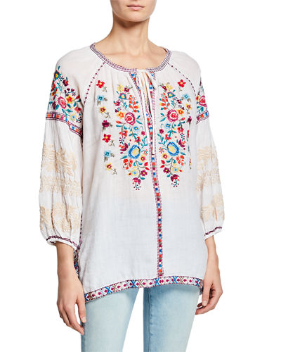 Allegra Embroidered Peasant Blouse