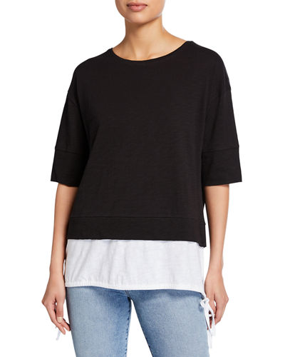 Forever Young Slub Cotton Layer Tee w/ Side-Tie Detail