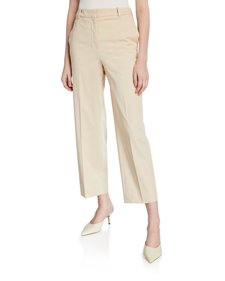 Theory High-Waist Straight-Leg Stretch-Cotton Ankle Pants