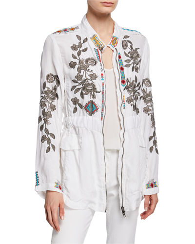 Milton Embroidered Zip-Front Jacket