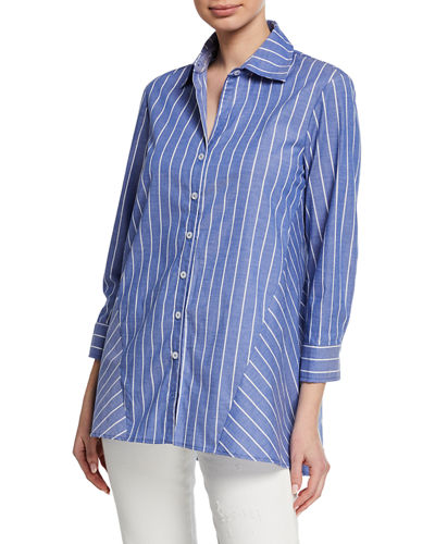 Plus Size Reverse Pinstripe Button-Front 3/4-Sleeve Trapeze Shirt