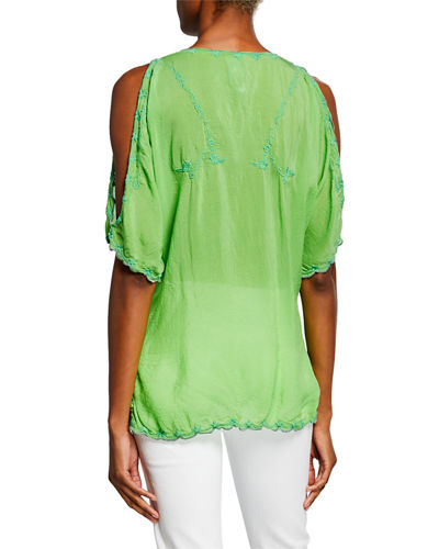 Johnny Was Plus Size Kelly Cold-Shoulder Georgette Blouse w/ Tonal Embroidery