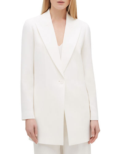 Kourt Peak-Lapel One-Button Finesse Crepe Jacket