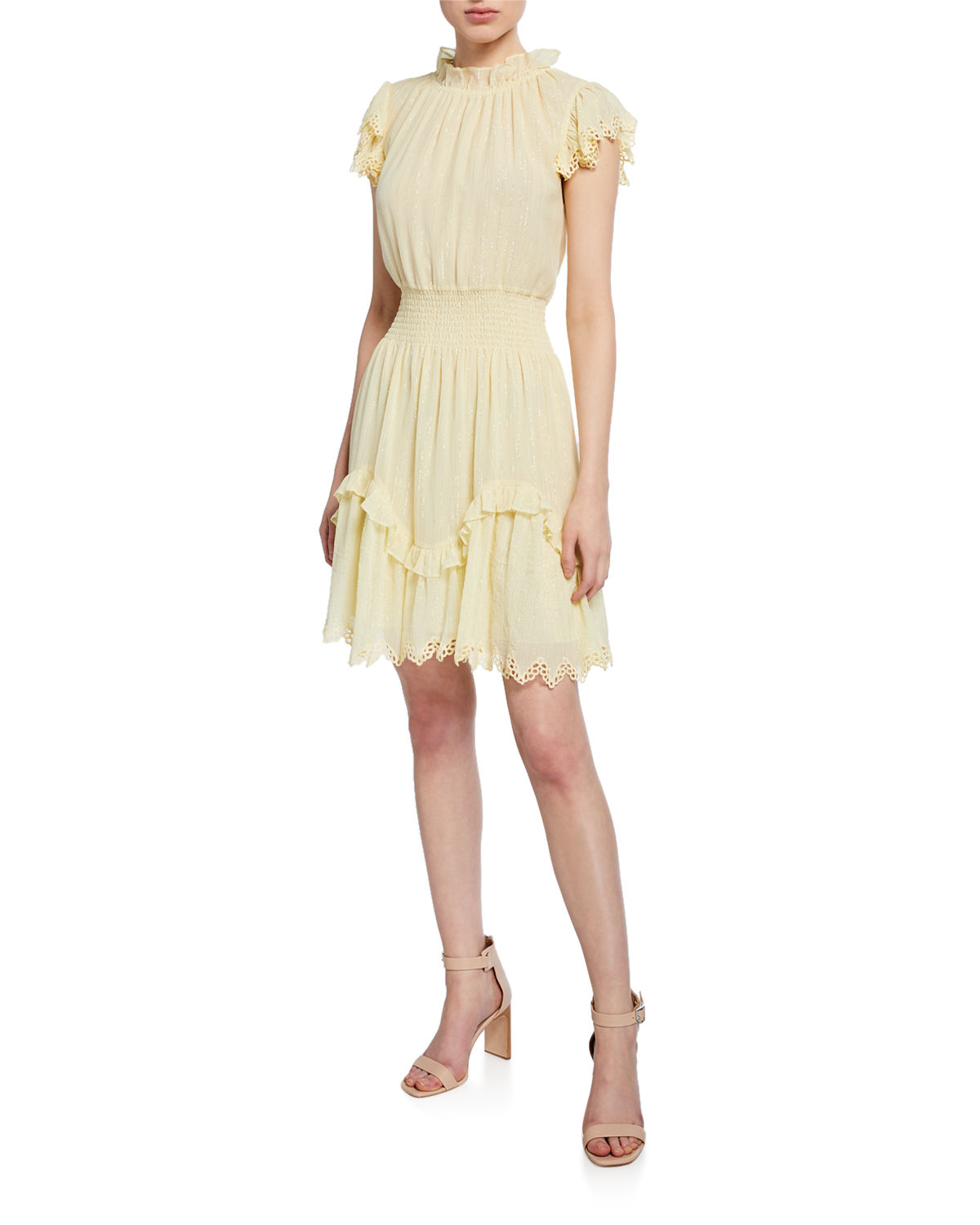 Rebecca Taylor Dresses HIGH-NECK METALLIC SHORT DRESS WITH LACE