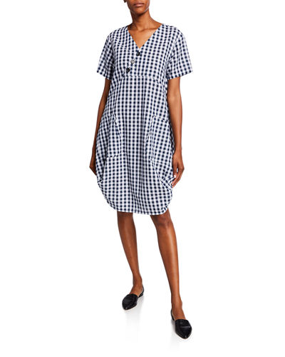 Plus Size Short-Sleeve Gingham Cocoon Dress w/ Pockets & Button Detail