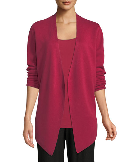 Eileen Fisher Petite Angle-Front Silky Tencel Cardigan