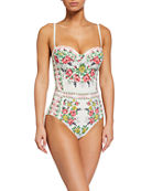 Tory Burch Floral-Print Underwire One-Piece Swimsuit