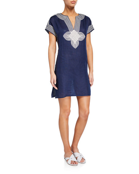 Tory Burch Embroidered Linen Coverup Tunic