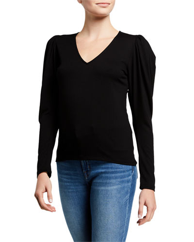 Shirred V-Neck Long-Sleeve Knit Top