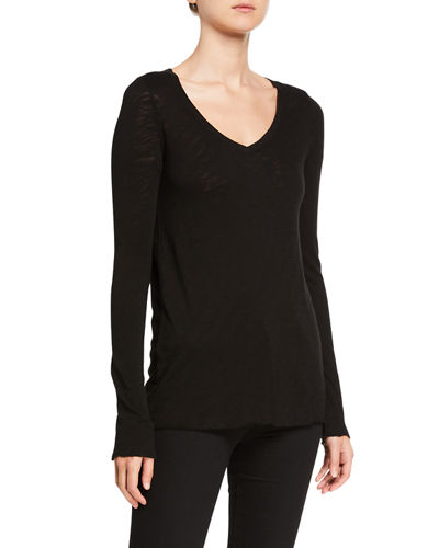 V-Neck Long-Sleeve Slub T-Shirt