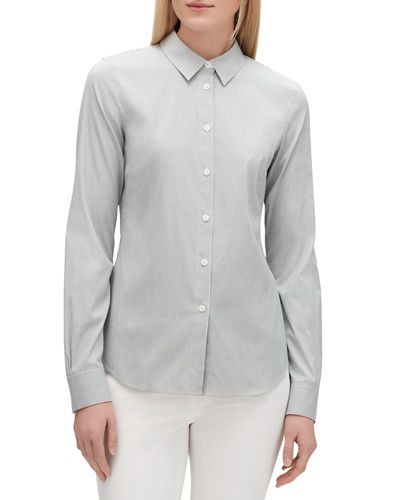 Montego Parkside Striped Button-Down Long-Sleeve Blouse