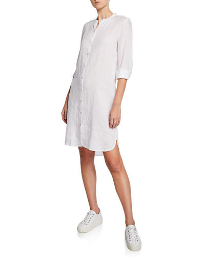 Eileen Fisher Mandarin Collar Long-Sleeve Organic Linen Shirtdress