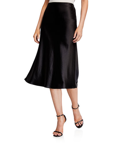 Milly Mila Hammered Satin Bias Skirt