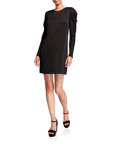 Milly Carina Draped Long-Sleeve Stretch Silk Shift Dress