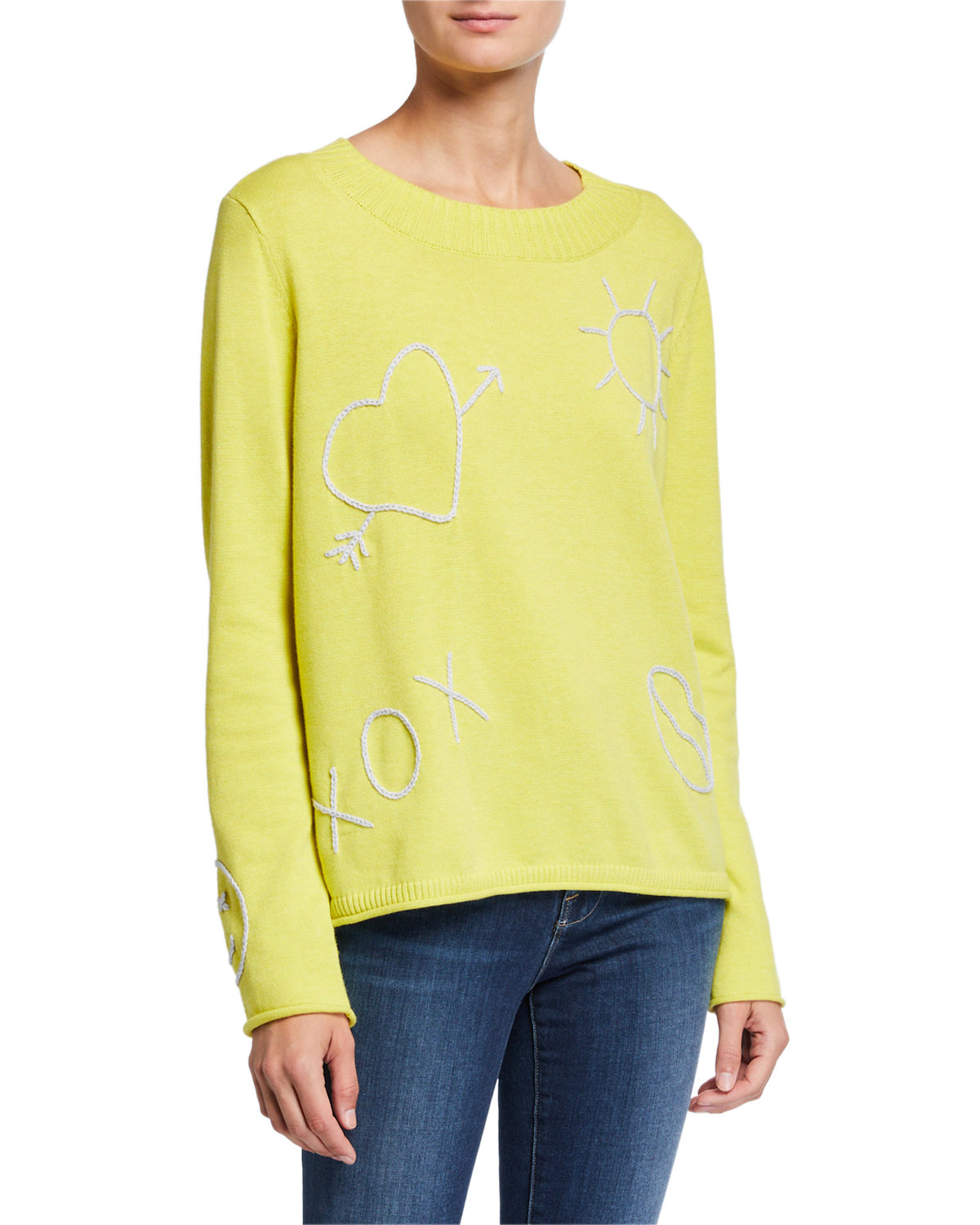 Lisa Todd LIFE IS GOOD STITCH DETAIL LONG-SLEEVE COTTON SWEATER