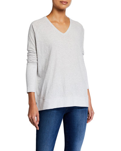 Beach V-Neck Long-Sleeve Tee w/ Color Pop Detail