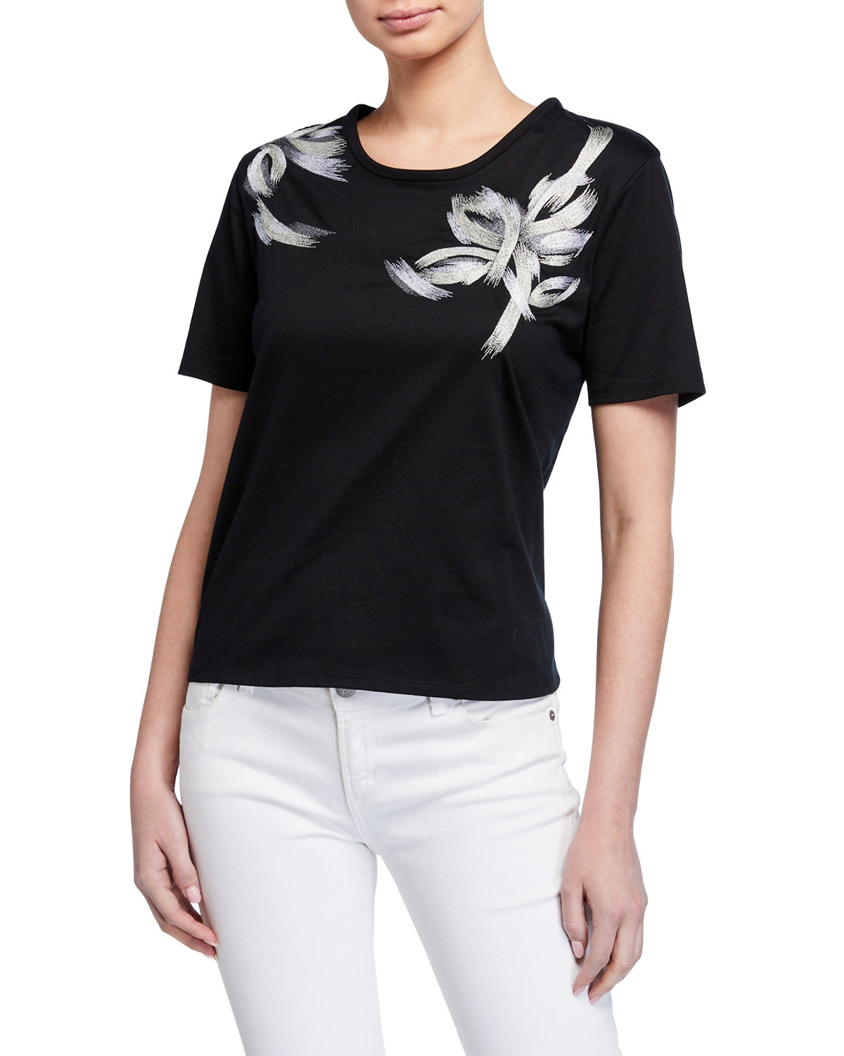 Natori Shorts EMBROIDERED SHORT-SLEEVE TEE