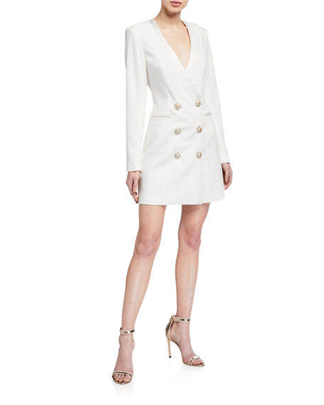 Jay Godfrey Farren Tuxedo Dress with Embellished Buttons