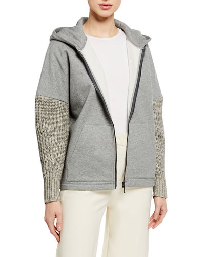 Odine Knit Zip-Front Textured Sleeve Jacket