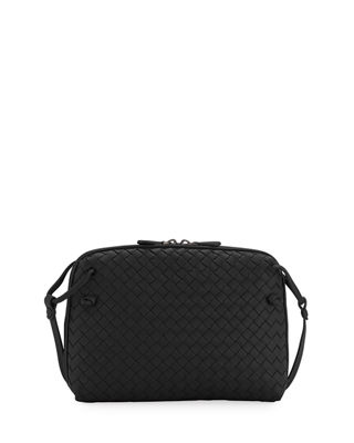 Nodini Small Intrecciato Leather Cross-Body Bag, Black
