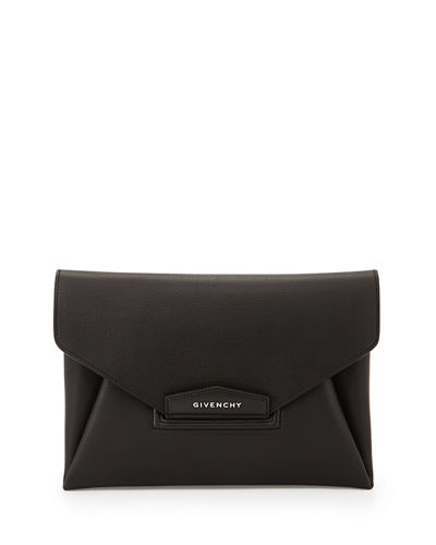 Antigona Leather Evening Envelope Clutch Bag