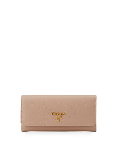 Textured Leather Continental Wallet, Red/Pink