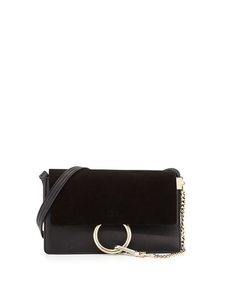 Image 1 of 5: Chloe Faye Small Suede/Leather Shoulder Bag