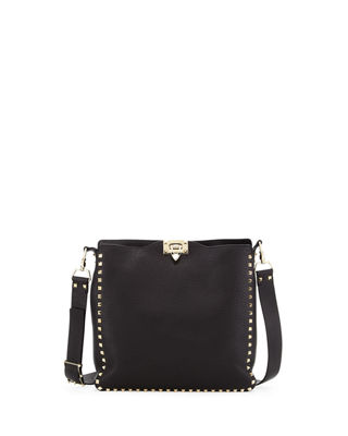 Small Rockstud Love Blade Guitar-Strap Leather Hobo Bag in Black