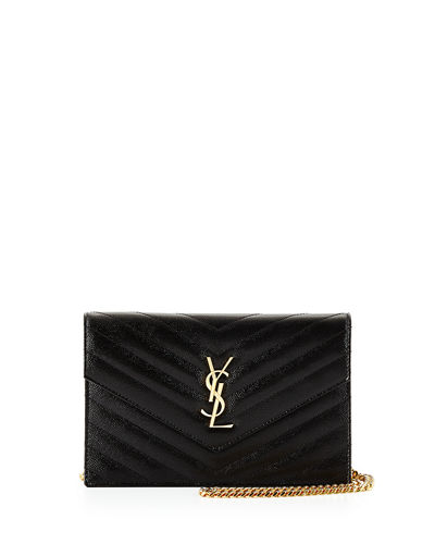 Monogram Chevron Quilted Wallet on Chain, Black