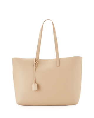 Large East-West Leather Shopper Bag, Neutral in Nude