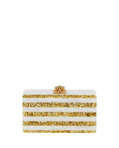 Edie Parker Jean Confetti-Striped Box Clutch Bag