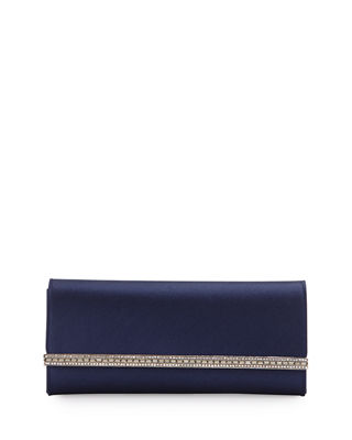 Image 1 of 3: Tuxedo Crystal-Trim Satin Clutch Bag