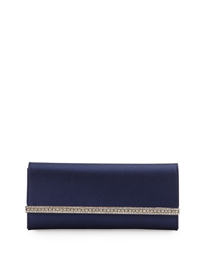 Tuxedo Crystal-Trim Satin Clutch Bag