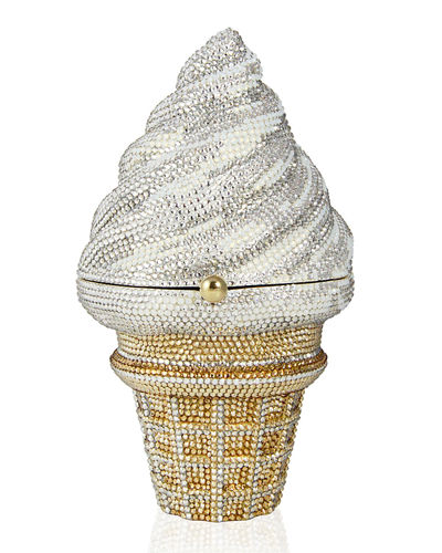 Crystal Strawberry Twist Ice Cream Cone Clutch Bag