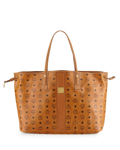 MCM Liz Reversible Large Visetos Tote Bag, Cognac
