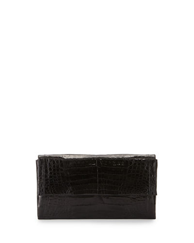 Simple Flap Crocodile Clutch Bag