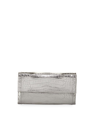 Image 1 of 3: Simple Crocodile Flap Clutch Bag