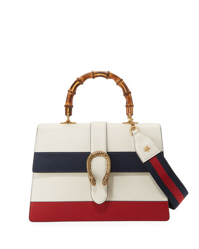 Gucci Dionysus Striped Bamboo Top-Handle Bag