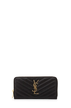 Saint Laurent Monogramme Grain de Poudre Zip-Around Wallet