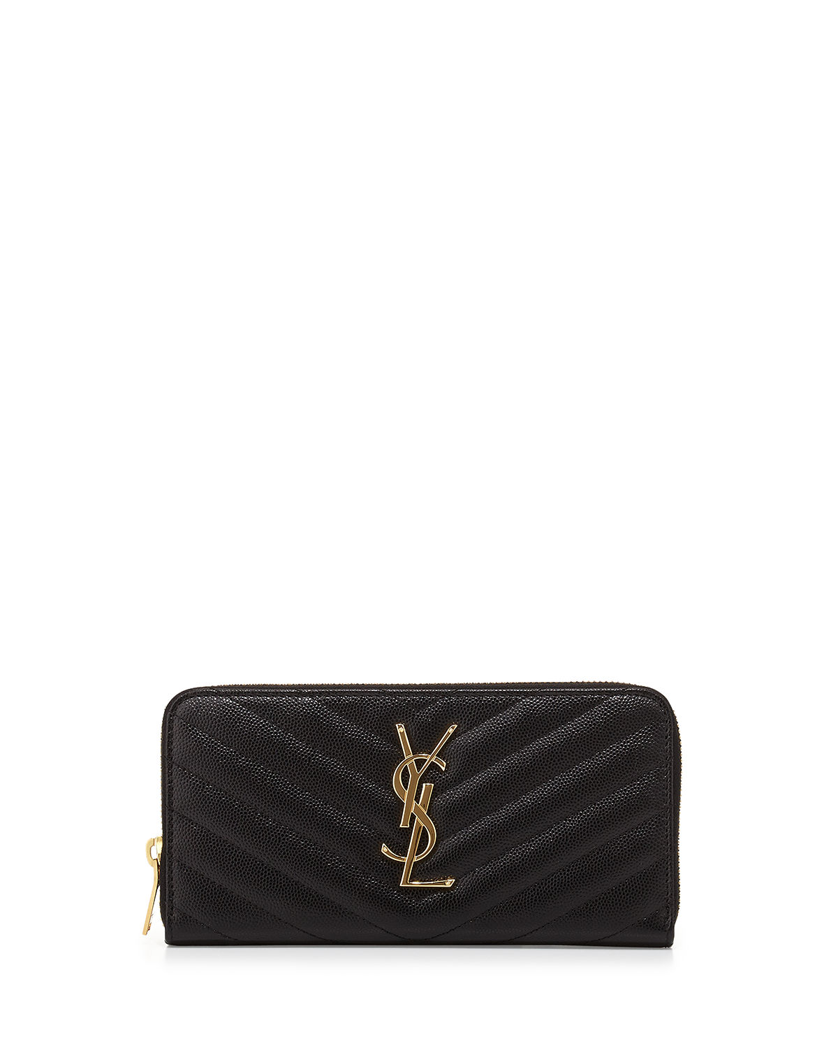 00fffa0f756b Saint Laurent Monogram YSL Matelasse Zip-Around Wallet