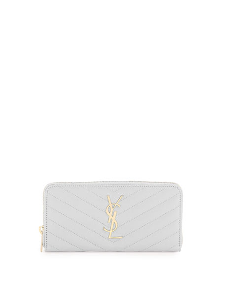 Saint Laurent YSL Monogram Grain de Poudre Zip-Around Wallet