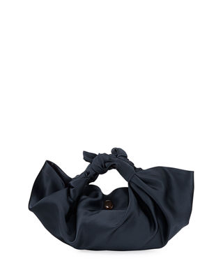 The Ascot Small Satin Hobo Bag in Navy