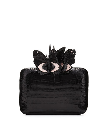 Butterfly Crocodile Box Clutch Bag