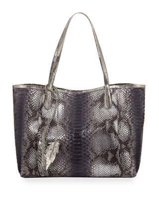 NANCY GONZALEZ ERICA PYTHON SHOPPER TOTE BAG, GRAY