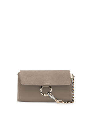 Chloe Faye Suede/Leather Wallet-on-a-Strap