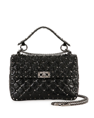 Quick Look Valentino Garavani Rockstud Medium Quilted Leather Shoulder Bag Available In Black