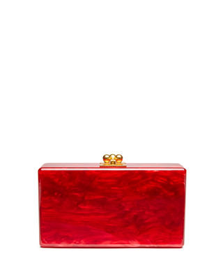 EDIE PARKER Jean Solid Acrylic Clutch Bag in Red