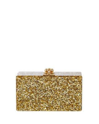 EDIE PARKER Jean Glittered Acrylic Clutch in Gold