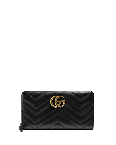 GG Marmont Medium Quilted Zip Wallet