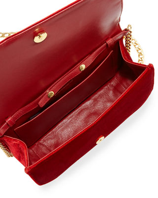 Image 2 of 3: Small Velvet Flap Crossbody Bag